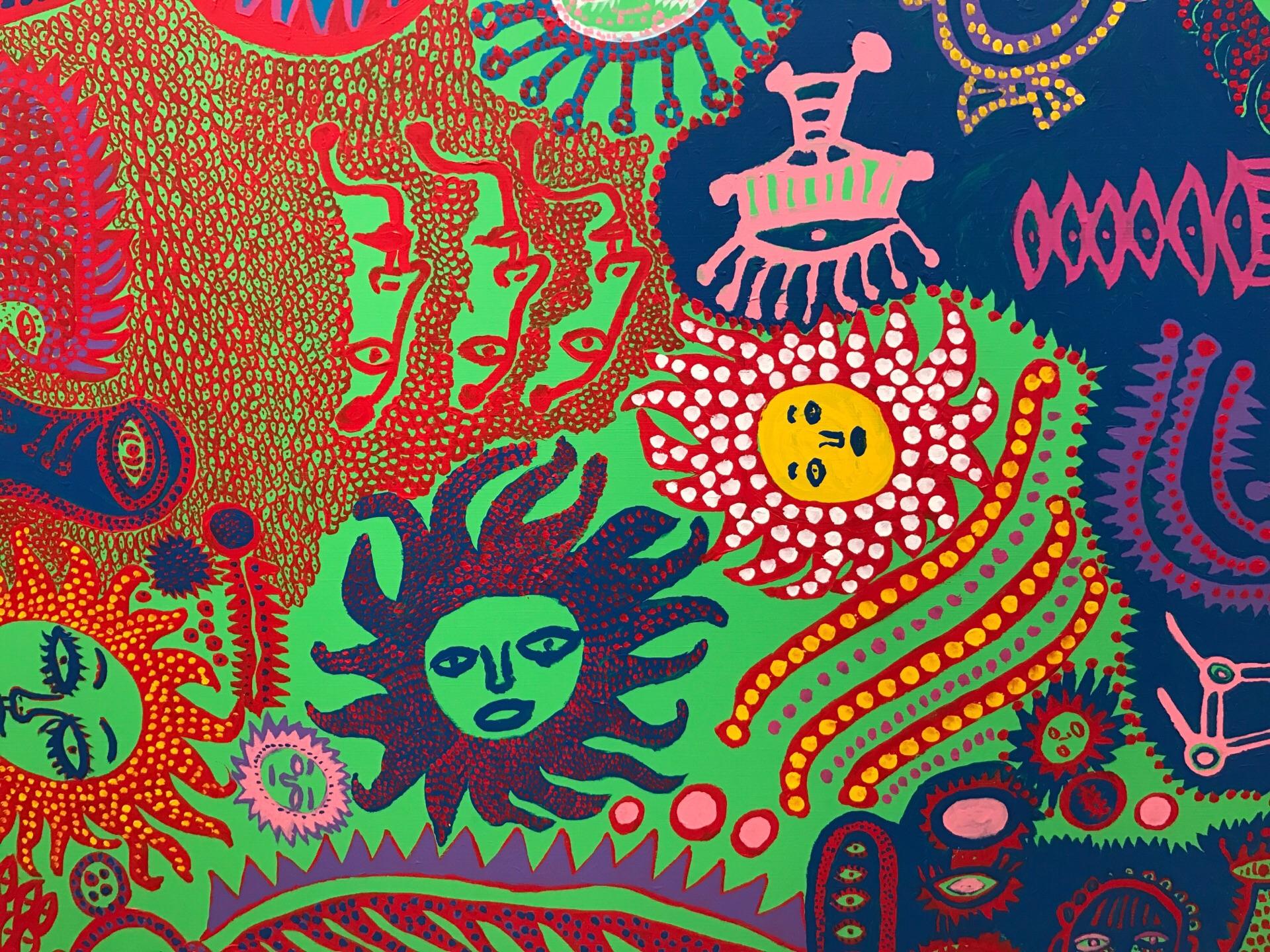 この絵画は草間彌生の見えざる内面を表現している絵画です。